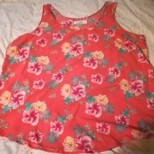 Gorgeous! Red and pink floral sleeveless blouse!